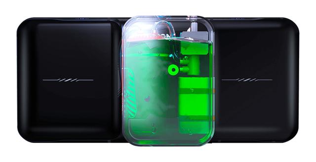 Een conceptafbeelding van de Lenovo Legion Phone Duel H2O Edition, een gaming-smartphone met actieve waterkoeling.