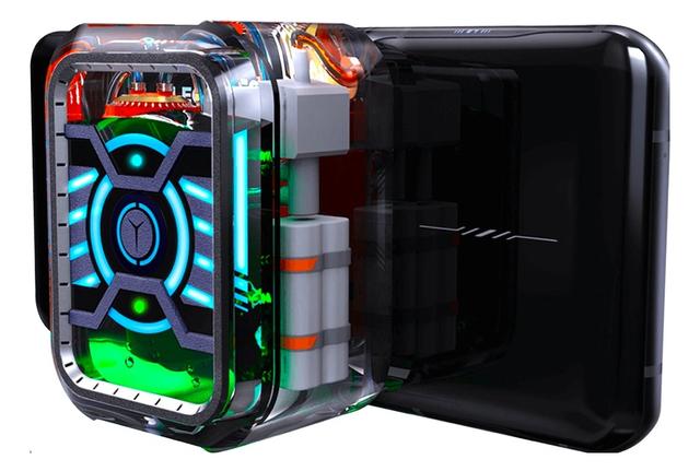 Conceptafbeelding van de Lenovo Legion Phone Duel H2O Edition, een gaming-smartphone met actieve waterkoeling.