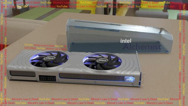 Een render naar de verwachtingen voor de eerste referentiekaart van Intel Arc.