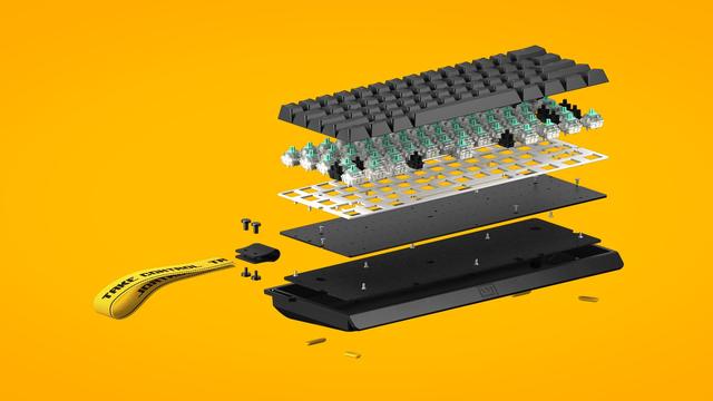 De Wooting 60HE, verdeeld in de verschillende lagen en componenten van het toetsenbord.