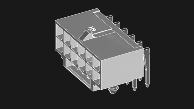 Schematische illustratie van de zogenaamde PCI-SIG-connector, met 12-pins stroomtoevoer voor bijvoorbeeld zware videokaarten.