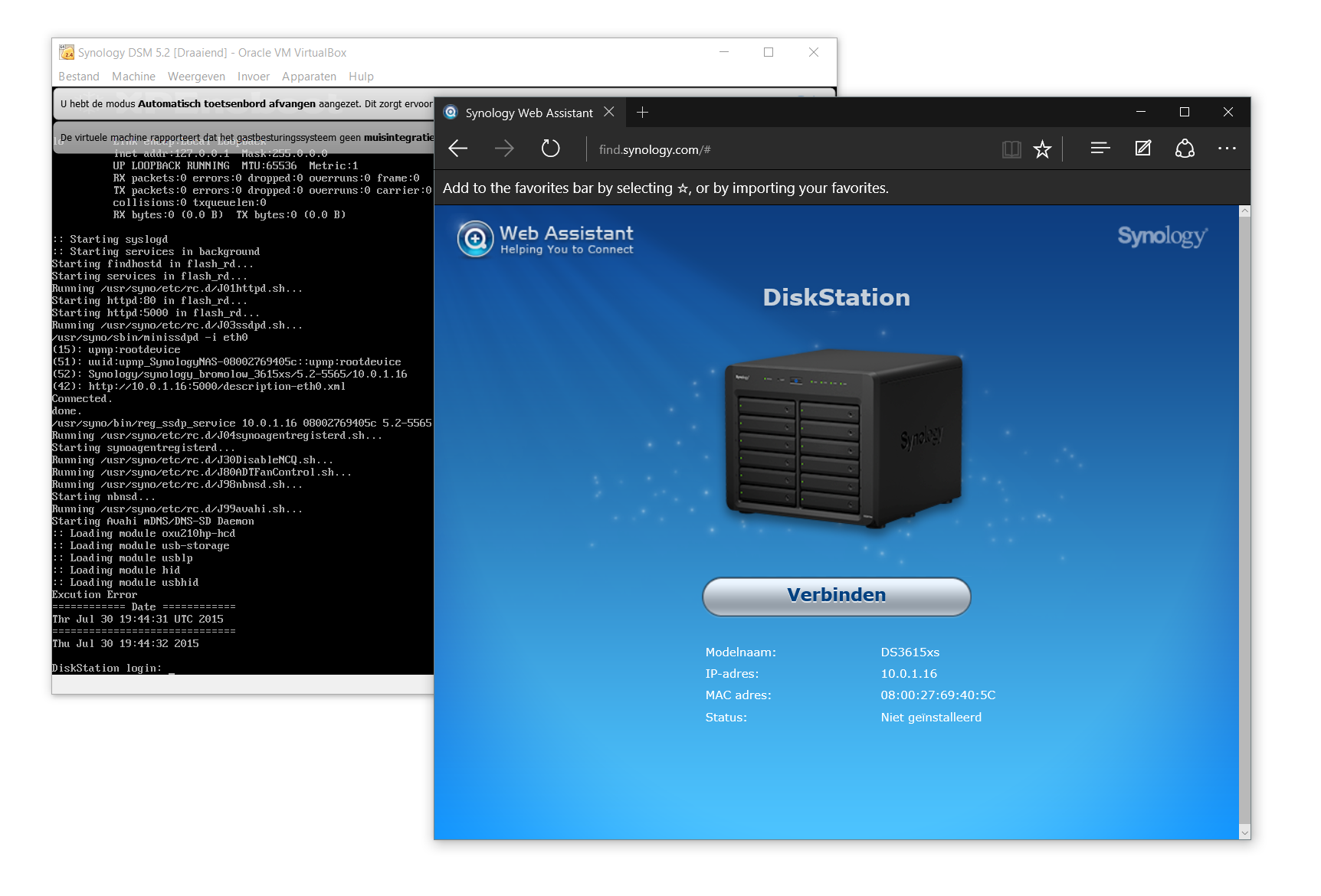 Synology DSM werkend in VirtualBox