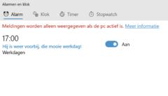 Windows 10 als alarmklok, best handig! Maar zorg wel dat de geprogrammeerde alarmen in de tijd vallen dat je pc aan staat.