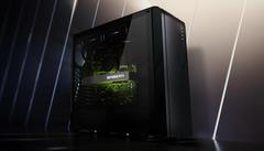 Promotionele afbeelding van de Nvidia GeForce RTX 3060, verlicht en afgebeeld in een gamecomputer.