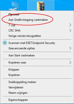Screenshot van snelle toegang voor bureaublad