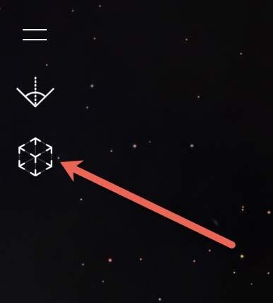 Met deze knop is het sterren kijken in de AR-modus van Night Sky