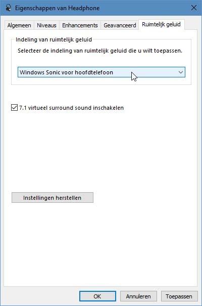 Windows 10 beschikt tegenwoordig over ingebouwd ruimtelijk geluid voor hoofdtelefoons