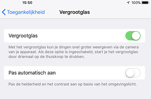 Activeer het vergrootglas in je iPhone of iPad