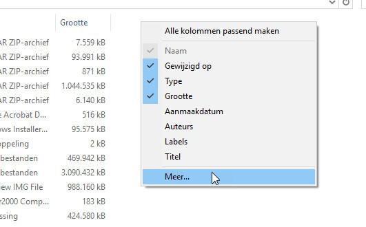 Doe meer met kolommen in de Windows Verkenner