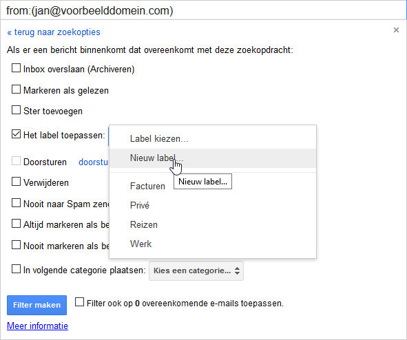 Stel een filter in Gmail in