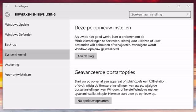 Windows 10 opnieuw instellen