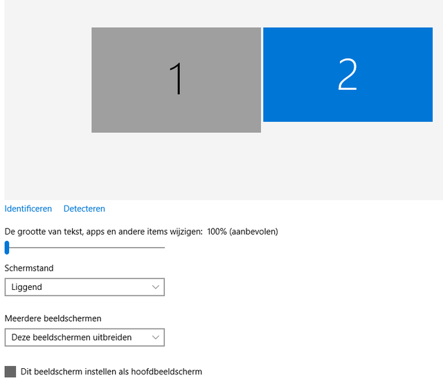 twee monitoren op Windows 10