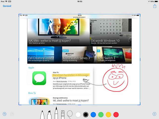 Annoteer screenshots direct in iOS 11