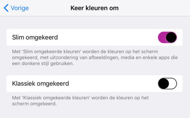 Het inverteren van kleuren levert een surrugaat dark mode op in iOS 11