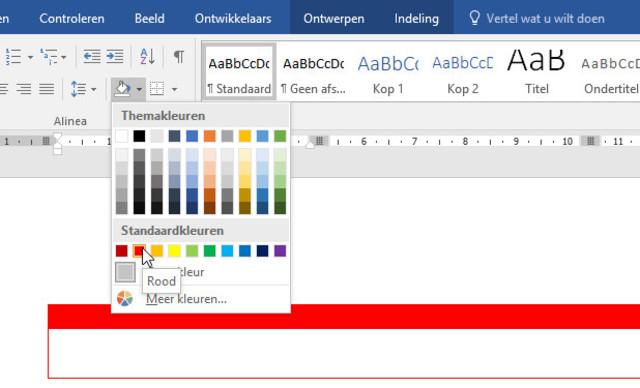 Geef cellen in een tabel in Word een kleurtje