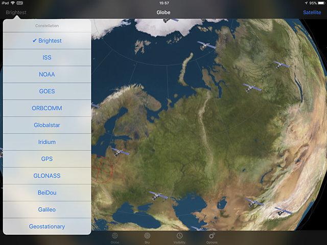 Selecteer een van de satellieten in de app Orbit