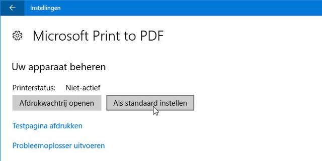 Doe eens gek en stel een PDF-printer als standaard in