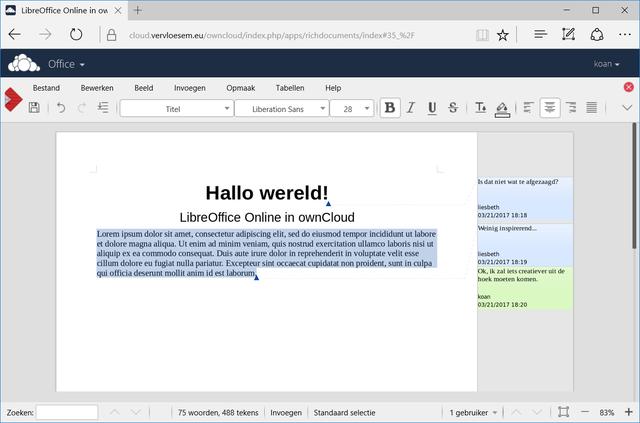 LibreOffice Online via ownCloud