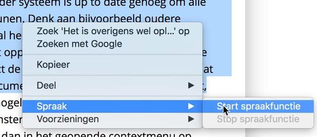 Laat tekst op een geopende pagina in Safari voorlezen