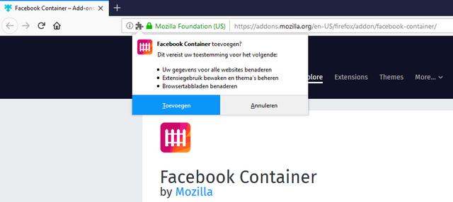 Facebook Container installeren