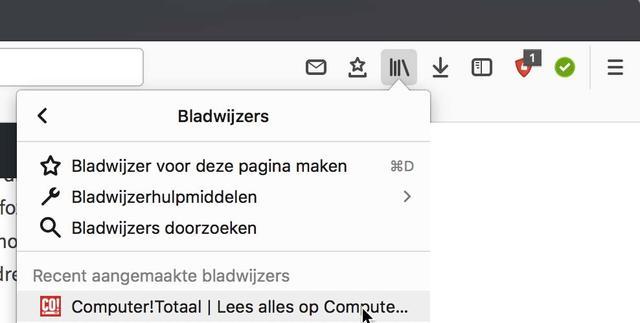 En hier vind je jouw bladwijzerverzameling in Firefox