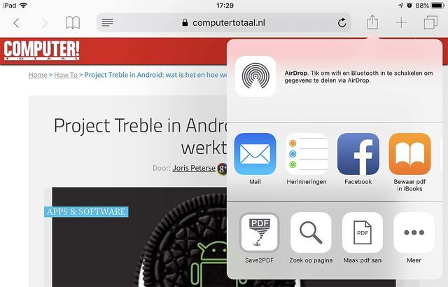 Ook in iOS maak je snel een PDF van een in Safari geopende pagina