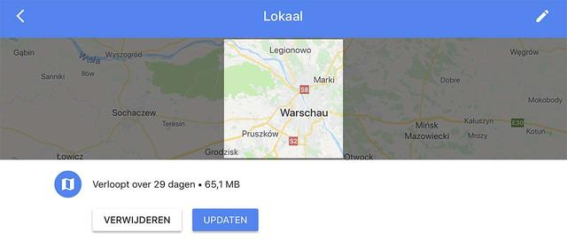 Download kaartdelen voor offline gebruik in Google Maps