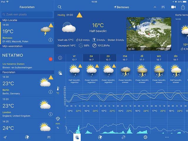 WeatherPro is een nauwkeurige en gedetaillerde app voor voorspelling van het weer