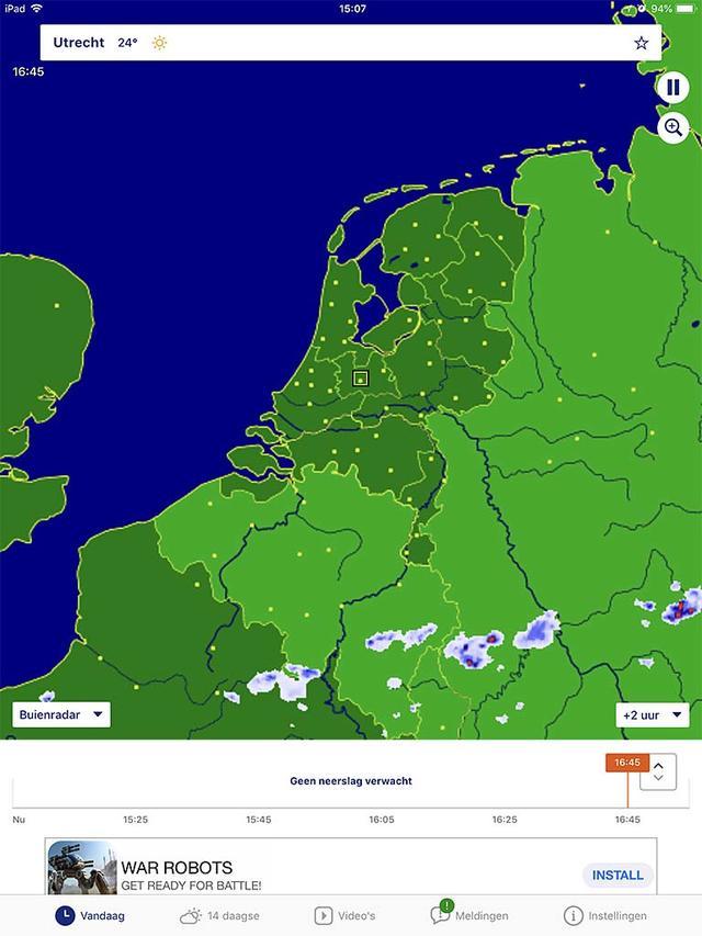 Het aloude Buienradar blijft nog steeds een prima indicatie voor het weer in Nederland