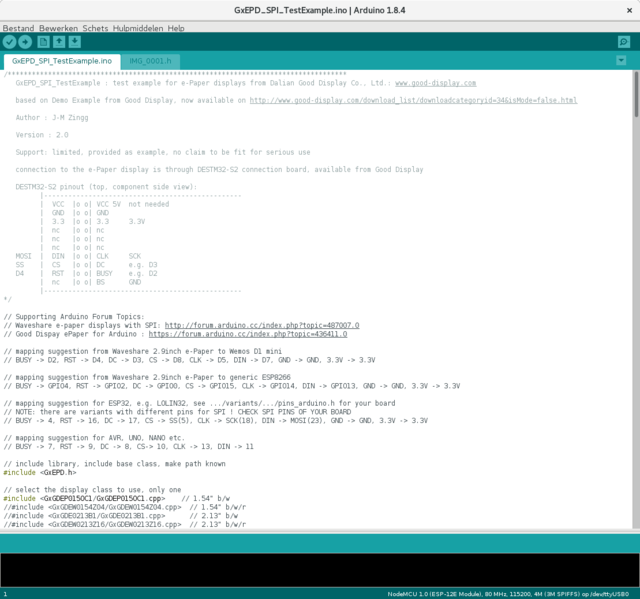 E-ink-scherm op Arduino