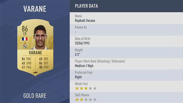 Varane Fifa 19
