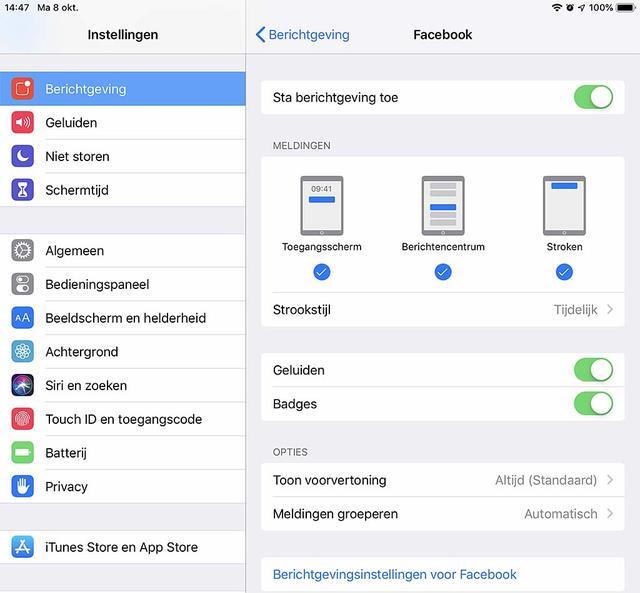 Mocht je het willen, dan kan je ook de oude berichtenweergave in iOS 12 terugkrijgen, via Meldingen groeperen