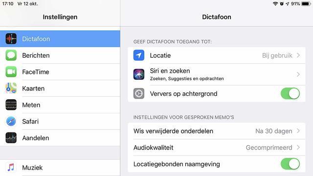 Kies in de iOS 12 Dictafoon voor gecomprimeerd of ongecomprimeerd geluid
