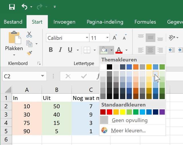 Gebruik eens een kleurtje in Excel