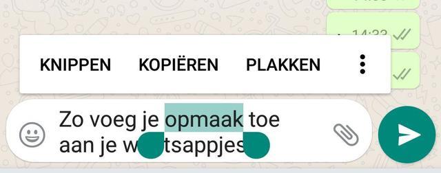 Opmaak in Whatsapp