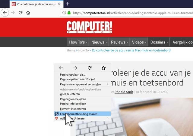 Via een rechter muisklik bereik je de screenshot-maker in Firefox