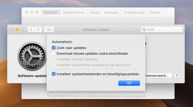 Zorg dat in macOS in ieder geval de optie Installeer systeembestanden en beveiligingsupdates aan staat