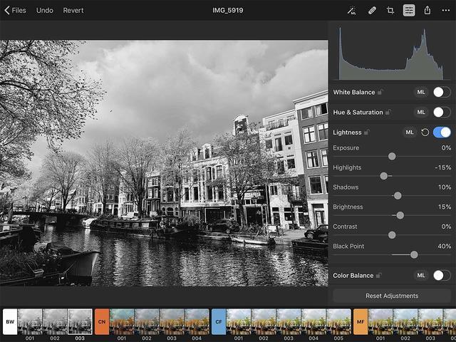 Met Pixelmator Photo voor iOS zijn ook heel veel handmatige instellingen mogelijk