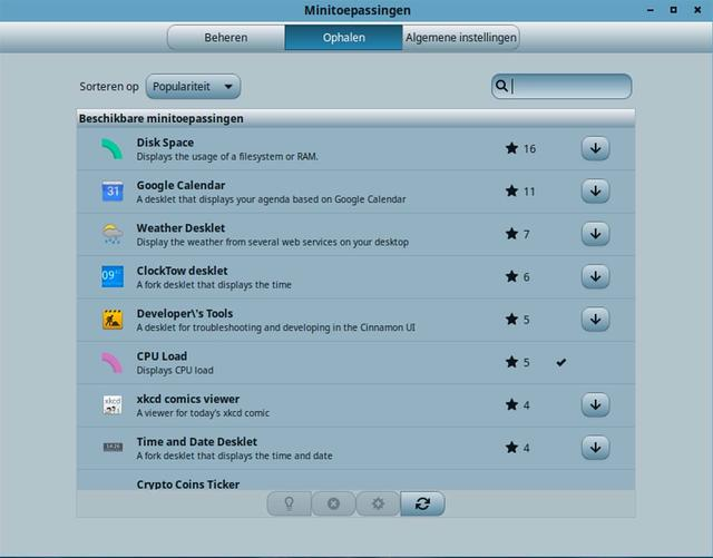 Er staan meerdere widgets klaar voor Linux Mint