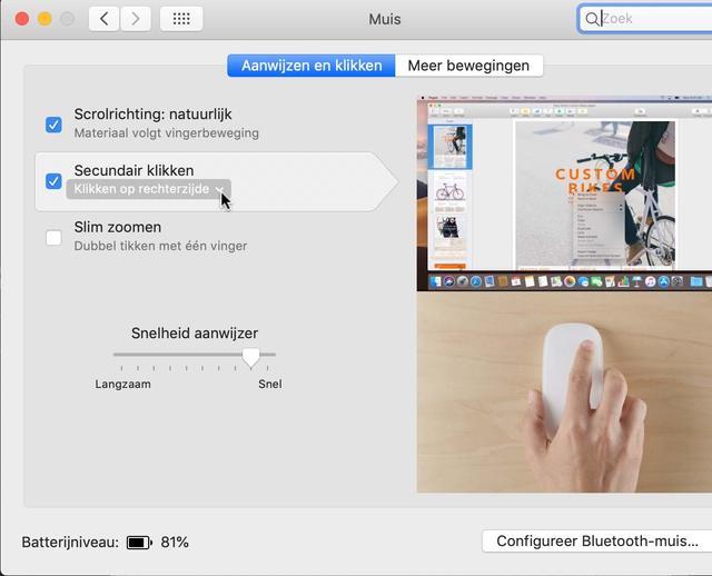 Hier activeer je de virtuele rechter muisknop van je Apple Magic Mouse