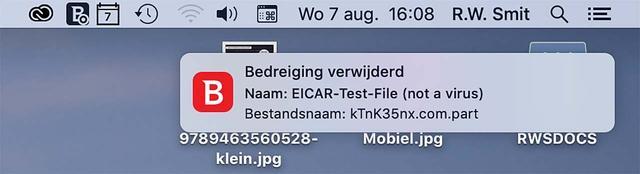 Bitdefender - hier in de macOS-versie - heeft het EICAR testvirus betrapt!
