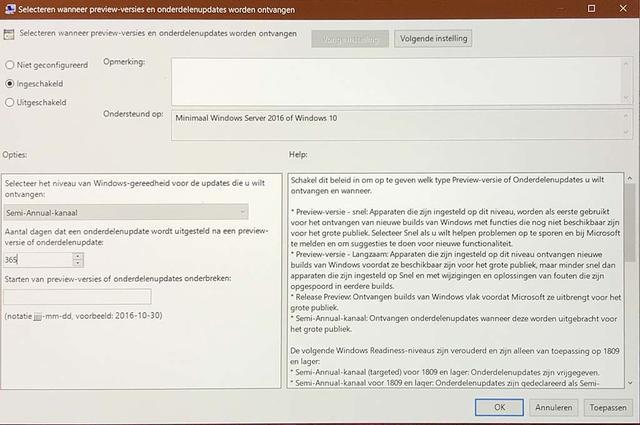 Zo zou uitstel ook in Windows 10 1903 Pro weer moeten werken