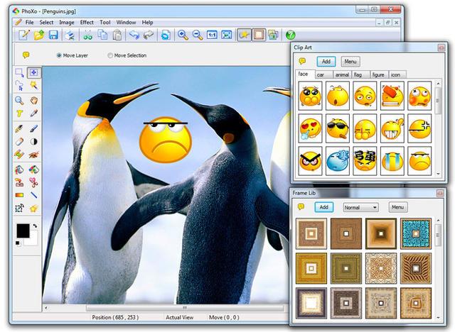 Screenshot van het fotobewerkingsprogramma Phoxo