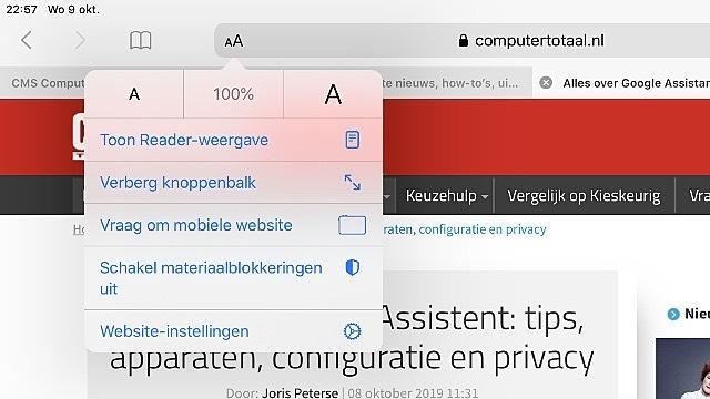 De 'AA'-knop in Safari van iOS 13 en iPadOS leidt je naar bekende én nieuwe opties