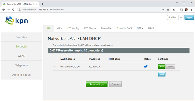 DHCP Reservering