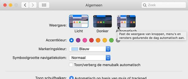 In macOS Catalina is het mogelijk om automatisch tussen lichte en donkere modus te schakelen