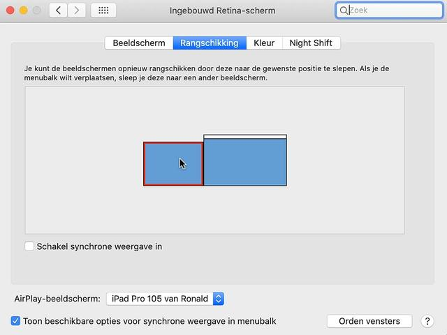 Sleep het tweede iPad-beeldscherm naar een met de realiteit overeenkomende plek