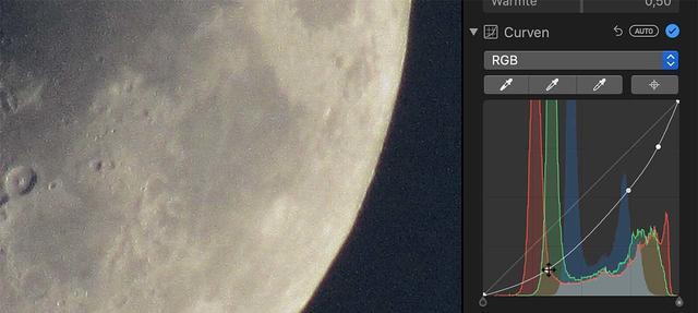 We ontbleken de maan middels Curven