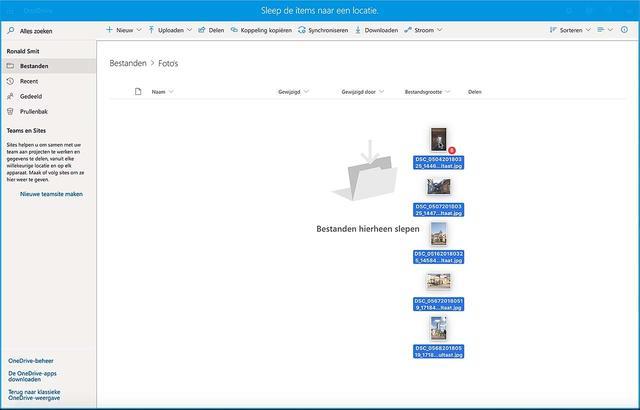 Upload foto's naar OneDrive vanaf je pc of Mac via de browser