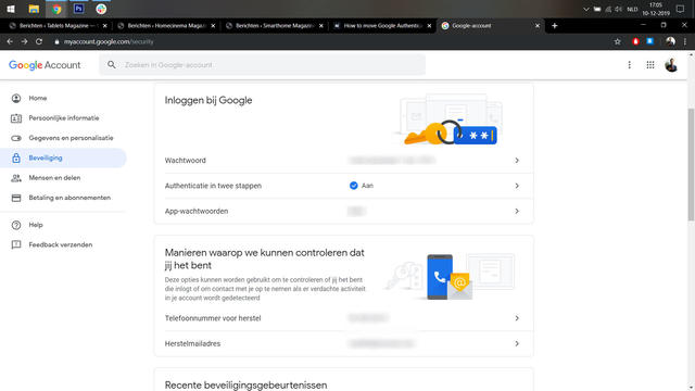 Google authenticator instellen 1